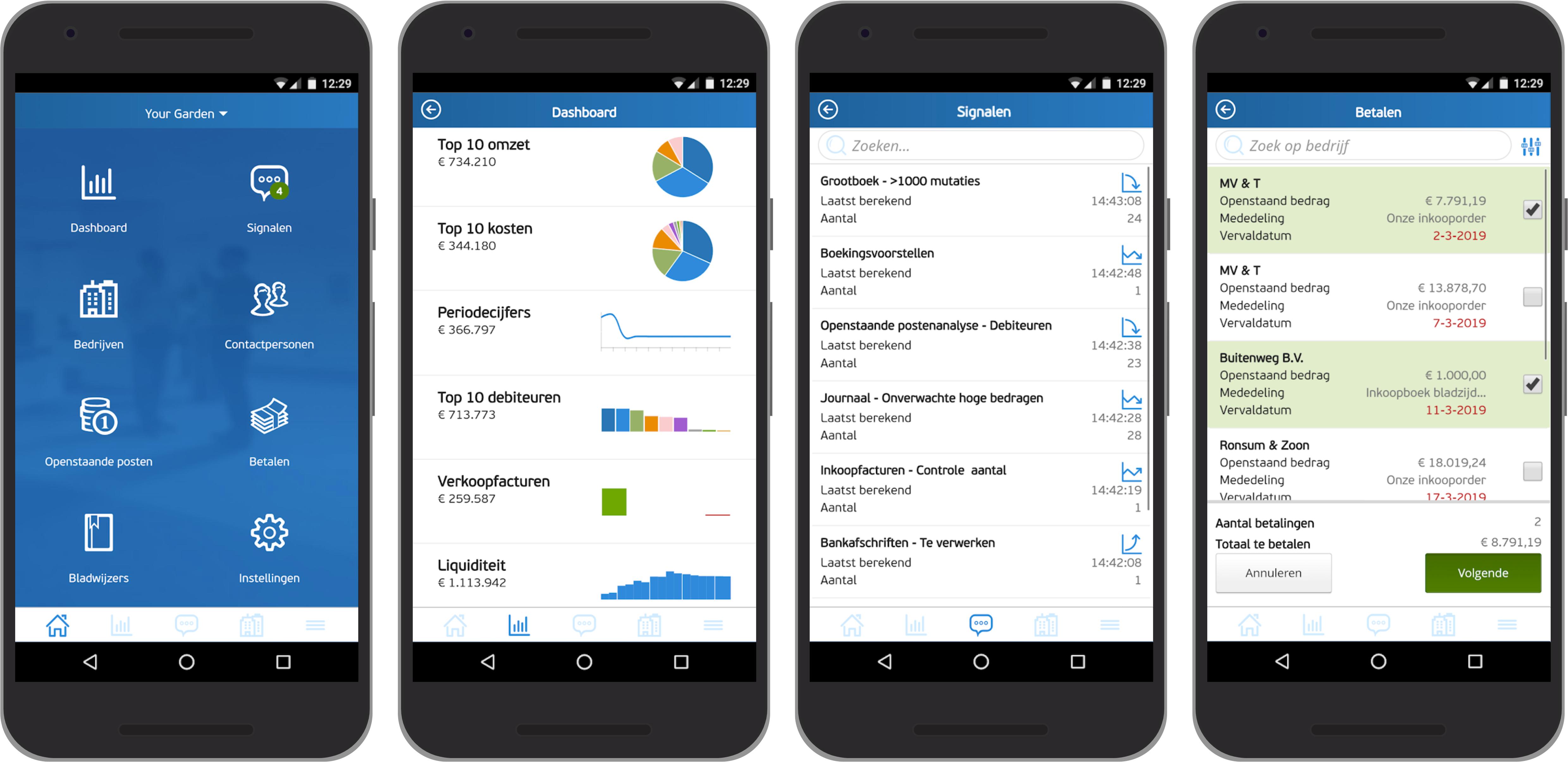 De schermen Startpagina, Dashboard, Signalen, en Betalingen van de AccountView Contact app.